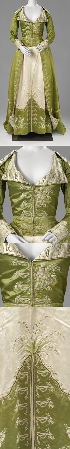 Redingote or Great-Coat Dress, c.1786 - c.1789, satin, silk, Netherlands, BK-1978-250 | Rijksmuseum