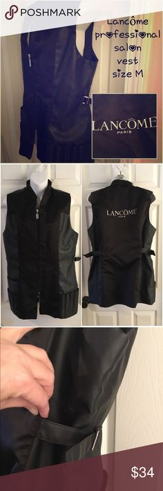 "Lancôme 🖤 Professional Make-Up Salon Vest 🖤 sz M Size medium professional makeup salon vest from Lancôme - excellent condition. Size medium - measures 20"" pit-to-pit. Sides loosen and cinch to suit your size/taste. Zips from top and bottom for versatility. Lots of pockets for make-up brushes, tools, etc. Lancome Makeup Brushes & Tools"