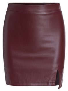 Slit PU Bodycon Wine Red Skirt 15.00