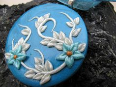A Walk In The Blue Polymer Clay Pendant