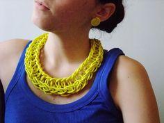 Necklace + earrings yellow fluo DIY- NoxCreare