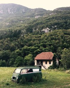 Photography by Frank Brandwijk I 'Chill Zone' 'Retirement' 'Nature' 'Beautiful Landscape' 'Green Camper' 'Motorhome' 'Old House' I 'Slovenia' 'Soča, Bovec' Fast Moving Consumer Goods, Tumblr Travel, Cabin, House Styles, Home Decor, Decoration Home, Room Decor, Cabins, Cottage