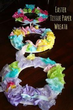 Easter tissue paper wreath - happy hooligans