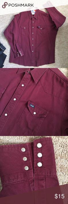 WRANGLER DENIM SHIRT XXL MAROON Like new Wrangler Shirts Casual Button Down Shirts
