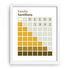 Diseño moderno que te permite introducir tu apellido familiar y año de inicio - www.miarbolfamiliar.es