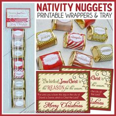 NATIVITY Christmas Nugget Wrappers, Reason for the Season, Holiday Party Treat or Favor - Printable Instant Download