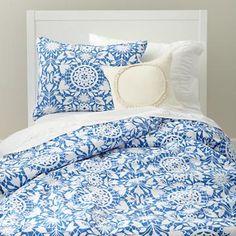 Kids' Bedding: Girls' Blue Floral Duvet Cover in Duvet Covers