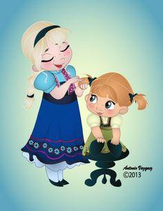 Frozen Fan Art: Young Elsa and Anna