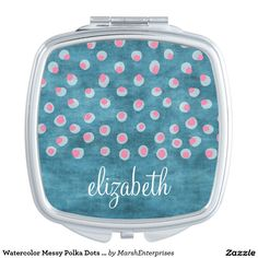 Watercolor Messy Polka Dots - blue and pink Travel Mirrors