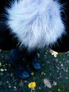 Grey Fluffy Bag Charm