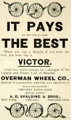 1891 Ad Victor Bicycles Overman Wheel Company Bike Spalding New York Chicago