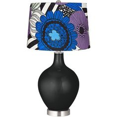 Color Plus Caviar Metallic Pop Art Purple Floral Shade Ovo Table Lamp ($140) ❤ liked on Polyvore featuring home, lighting, table lamps, black, floral table lamp, purple lamp, onyx lamp, metallic table lamp and black table lamp
