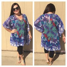"""❗️SALE❗️  LISTING Beaded  Blue Top This adorable piece can be worn with leggings, a cover up for the beach or worn with shorts. The bejeweled neckline really dresses this up! 100% poly, 25"""" PTP, 35"""" long. I have this in 3 different colors. ❌BUNDLE❌ and save! Model says will fit up to a 2X 9-6-15 India Boutique Tops"""