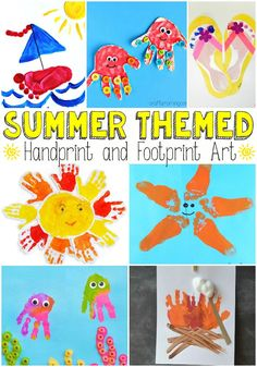 Summer Themed Handprint and Footprint Art - Easy Peasy and Fun-- Could also use the handprint sun for a first week of summer class handprint collage Daycare Crafts, Baby Crafts, Fun Crafts, Arts And Crafts, Daycare Rooms, Quick Crafts, Creative Crafts, Toddler Art, Toddler Crafts