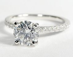 Petite Pavé Diamond Engagement Ring in 14k White Gold. Simple and classy.  Love it!