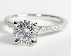Petite Pavé Diamond Engagement Ring