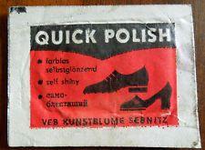 """Altes Schuhputztuch """"Quick Polish"""" DDR originalverpackt für Sammler"""