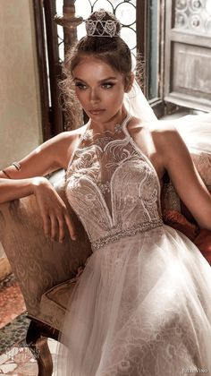 julie vino spring 2018 bridal sleeveless illusion halter neck sweetheart neckline romantic modified a  line wedding dress open back chapel train (09) zv -- Julie Vino Spring 2018 Wedding Dresses