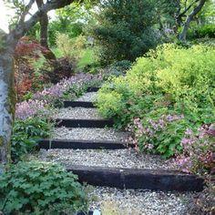 Steps for steep hillside garden.