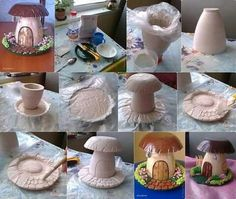 DIY_Mushroom_House This is a nice handmade decoration out of plaster. The technique is rather simple and it depends on you to give it that fairytale/natural aspect with a paintbrush. In order to make this DIY mushroom house, you will need: Clay Fairy House, Fairy Garden Houses, Fairies Garden, Gnome Garden, Fairy Crafts, Garden Crafts, Garden Ideas, Garden Projects, Garden Art
