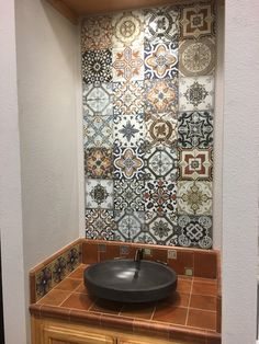 A tile match made in heaven! Our Marrakesh & Seville collections marry perfectly together. Paired with the black vessel sink, these products give a unique & transitional feel to this design. https://arizonatile.com/en/products/porcelain-and-ceramic/marrakesh