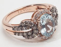 rose gold, aquamarine, & diamond antique ring. LOVE