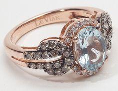 rose gold, aquamarine, & diamond antique ring. LOVE