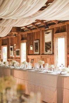 wedding decor-fabric on ceiling