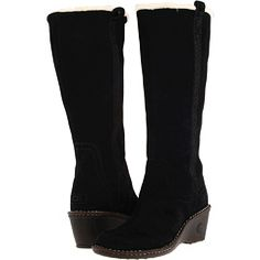UGG Australia Classic Hartley Black Suede Zipper Knee High Boots Women Shoes