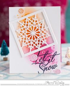 "PTI Quilted: Winter ""Let It Snow"" (PTI Christmas Cheer) Watercolor card by Betsy Veldman Stamped Christmas Cards, Christmas Cards To Make, Xmas Cards, Holiday Cards, Watercolor Quilt, Watercolor Cards, Snowflake Cards, Snowflakes, Hanukkah Cards"