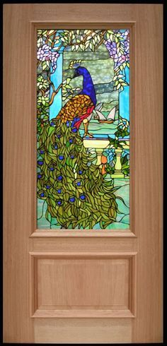 Stained glass door. Could be enchanted like the mermaid in the bathroom in the Goblet of Fire