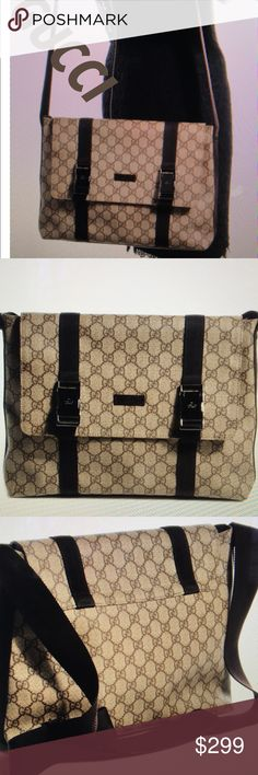 👜Authentic Gucci Large Monogram Tote 👜 This chic messenger bag is crafted of that Gucci monogram coded canvas with a long adjustable Crossbody nylon shoulder strap with the flap and nylon straps with two push locks please note the silver on the locks is a little Scratched but can easily be buffed out Spotless inside I do not have a receipt but can guarantee it is authentic Gucci Bags Totes