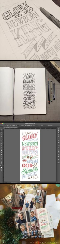 A look behind the scenes at the process for the #handlettering on our family Christmas Card this year. __ Hand Lettering by [ts]Christer __ www.letteringsupply.com #LetteringSupplyCo.