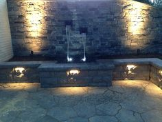 www.SharperCut.com - Annapolis, MD - Water feature with night lighting