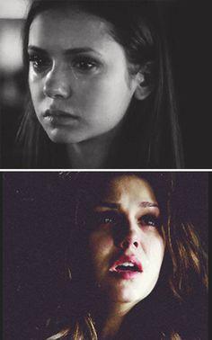 Elena turns her humanity off & Elena turns her humanity on...I was SOOO glad when she turned it back on..I did NOT like the no humanity Elena