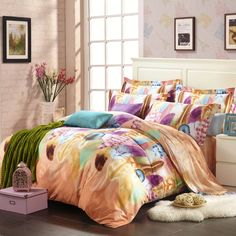 Tawny Brown Purple and Blue Novelty Feather Print Luxury Personalized Romantic Warm Kids 100% Tencel Full, Queen Size Bedding Sets