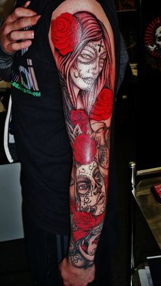 day of the dead tattoo sleeve, adventure tattoos, www.adventuretattoos.com, adventure tattoo, jack and sean, 52 church street, church green, keighley,west yorkshire, adventuretattoo ,adventuretattoos, adventure tattoo studios 2. england,uk,tattoos ,tattoo,best