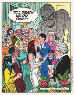 Promo piece done by Romita for Peter Parker and Mary Jane's wedding - 1987. - Visit to grab an amazing super hero shirt now on sale!