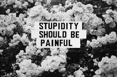 Stupidity should be painful. #quotes