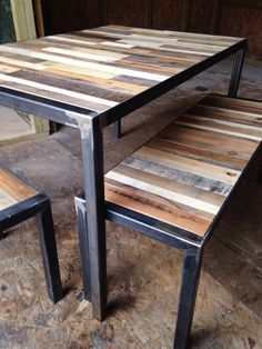Reclaimed Wood & Steel Industrial Dining Table by LoremMauris