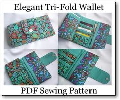 Tri-Fold Wallet PDF Sewing Pattern  by Susie D Designs   - from http://www.craftsy.com/pattern/sewing/accessory/elegant-tri-fold-wallet--purse/20065