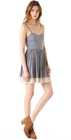 MINKPINK Uptown Girl Sundress-blue and white striped dress w/sweetheart neck, lace hem