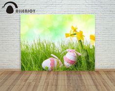 16.73$  Buy now - http://alixhv.shopchina.info/go.php?t=32778126757 - Allenjoy background Happy easter eggs Attractive lace pink decoration flower green bokeh children photography background  #aliexpress