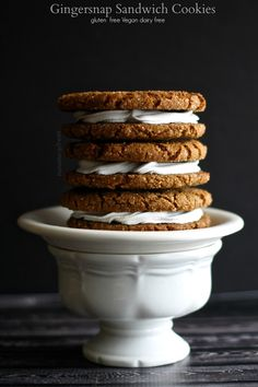 free vegan gingersnap sandwich cookies! These gingersnaps are filled ...