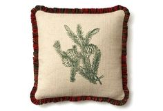 Pinecone 20x20 Linen Pillow,  - A red plaid ruffle around the edge and a green pinecone motif at the center gives this pillow a subtly festive chic. An included feather-and-down fill makes it as comfortable as it is charming.