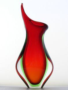 Murano sommerso red & green glass vase