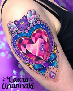 Magical crystal brooch for a magical girl 🌙⭐️🌸 I love jewelry tattoos ☺️ them are so kawaii! Done in Taipei at 💐🦄🌈… Sweet Tattoos, Girly Tattoos, Badass Tattoos, Mini Tattoos, Love Tattoos, Beautiful Tattoos, Body Art Tattoos, Small Tattoos, Kawaii Tattoos