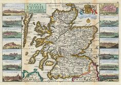 A stunning map of Scotland first drawn by Daniel de la Feuille in 1706 Scotland Map, Scotland History, Scotland Travel, Vintage Wall Art, Vintage Walls, Le Clan, England Ireland, Old Maps, Dundee