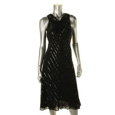 RALPH LAUREN. Black Shimmer Sequined Cocktail Dress. Taille 42. REF3480.