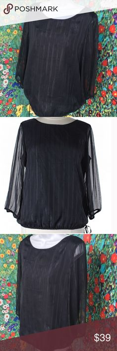 "LIKE NEW💙Metallic Pinstripe Navy Side-Tie Top💙 ❤️Black Banana Republic 3/4 Sheer Sleeve Blouse with Shimmering Vertical Pinstripe Lines throughout❤️ Elastic Wristband and Elastic Drawstring Waistband. 96% Polyester, 4% Metallic  Sleeve Length-19""  Bust-43""  Length-26"" Banana Republic Tops Blouses"